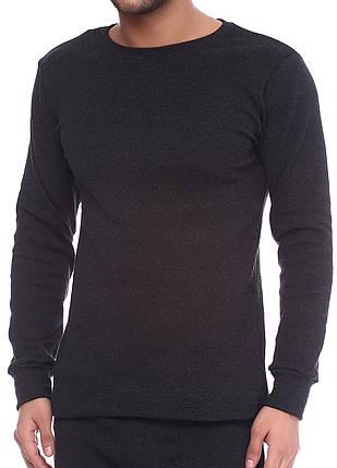 Кофта мужская длинный рукав на байке темно серая, фото 2