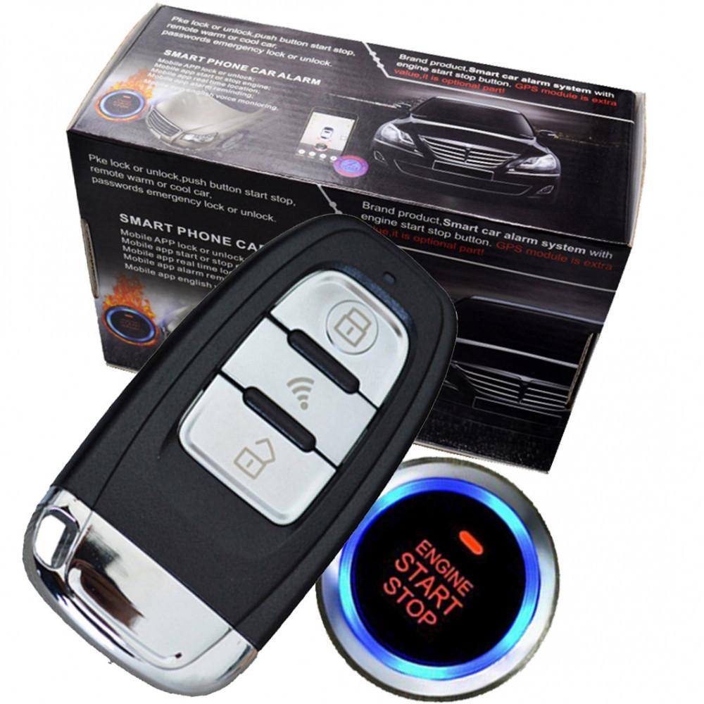 Автосигнализация c кнопкой старт стоп и бесключевым доступом Cardot 1100AN-PS (завод двигателя с брелка )