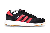 Осенние мужские кроссовки Adidas Iniki Runner black/pink (Топ качество, реплика) (реплика), фото 1