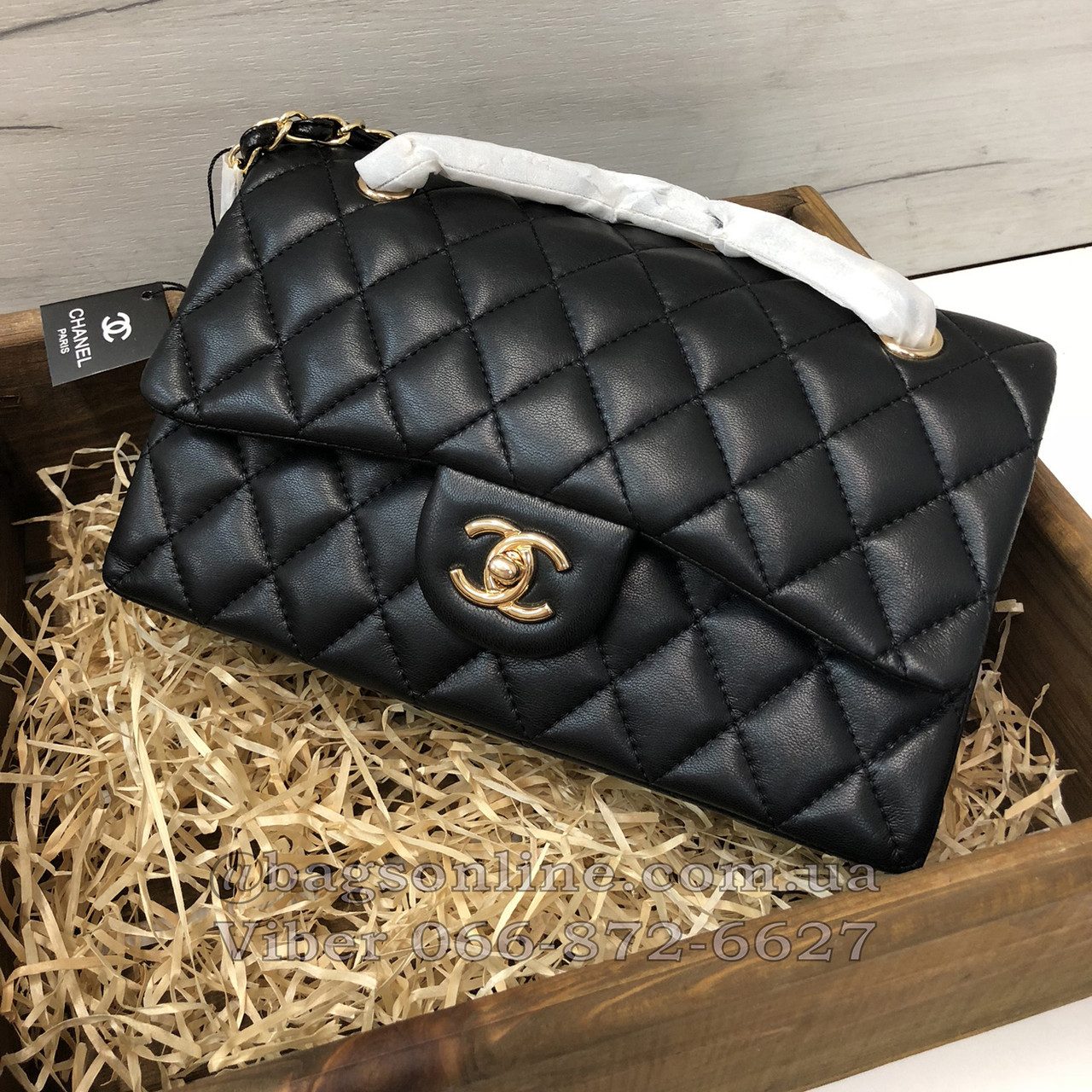 Сумка реплика Chanel Classic Flap Bag 25см   копия шанель флап натуральная  кожа Черный - BagsOnline e3099c017b4