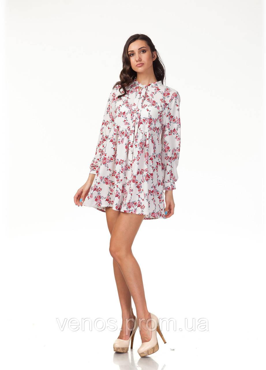 Платье летнее в цветах. П121