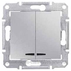 Выключатель 2-клавишный с инд. алюминий Sedna Schneider Electric