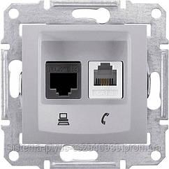 Розетка Телефонная+комп. UTP кат. 6 алюминий Sedna Schneider Electric