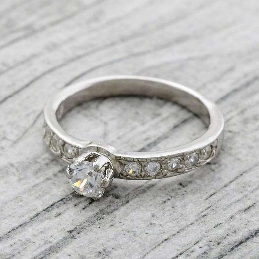 """Серебряное кольцо """"Невеста"""", вставка белые фианиты, вес 1.19 г, размер 16"""