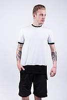 """Мужская футболка """"Dark Side"""" white black long"""