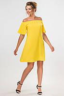 Повседневное женское платье выше колен с открытыми плечами желтого цвета