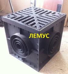 Комплект: Дождеприемник черный пластиковый 300х300мм + чугунная решетка