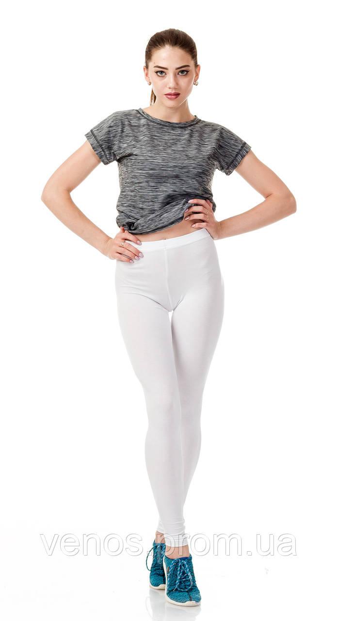 Белые трикотажные женские лосины. L002