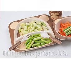 Набор детской посуды из бамбукового волокна Обезьянка, фото 3