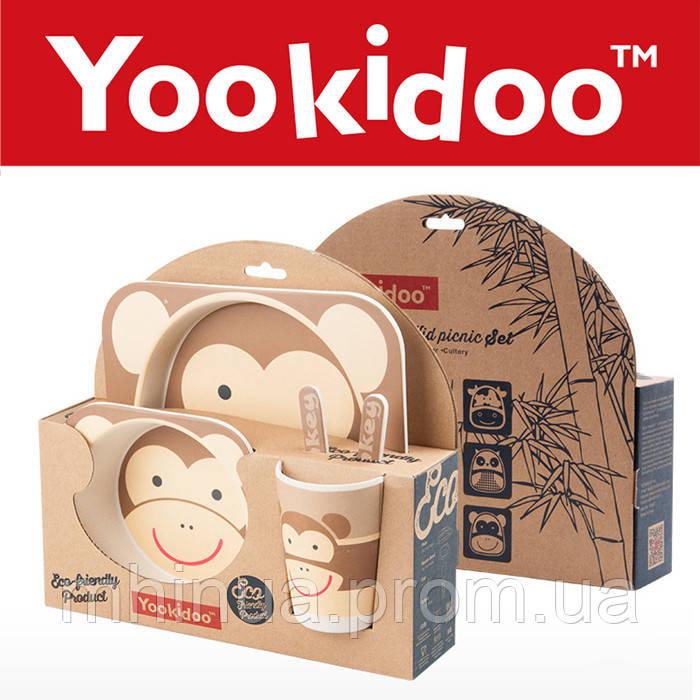 Набор детской посуды из бамбукового волокна Обезьянка