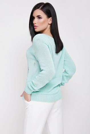 """Легкий летний вязанный свитер с длинным рукавом декоративные дырки""""RONNY"""" мятный, фото 2"""
