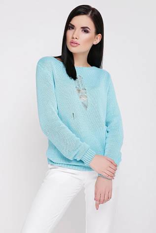 """Прямой легкий вязанный свитер с длинным рукавом декоративные дырки""""RONNY"""" бирюзовый, фото 2"""