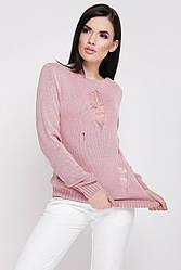 """Летний легкий вязанный свитер с длинным рукавом декоративные дырки """"RONNY"""" пудровый"""