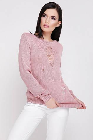 """Летний легкий вязанный свитер с длинным рукавом декоративные дырки """"RONNY"""" пудровый, фото 2"""