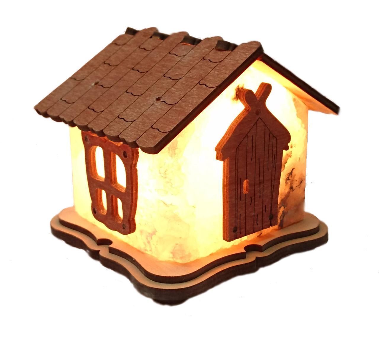 Соляной светильник Домик красный