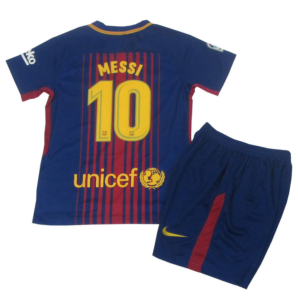 Футбольная форма Барселона (реплика) детская основная 2017-2018 Месси (Barcelona Messi) сине-гранатовая