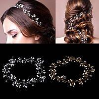 Свадебный венок, веночек в прическу (в волосы), украшение для волос посеребрение 47121-а
