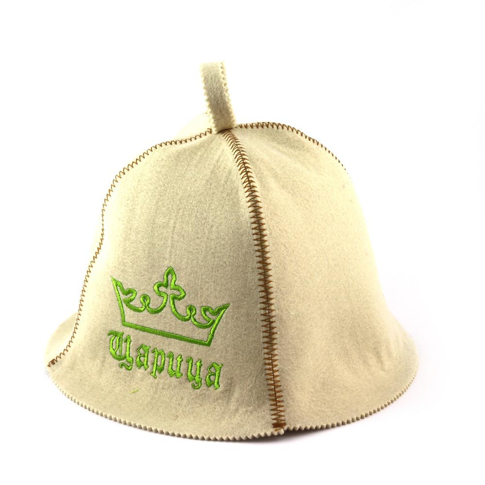 Шапка для сауны (белая), Царица, искусственный фетр, Saunapro