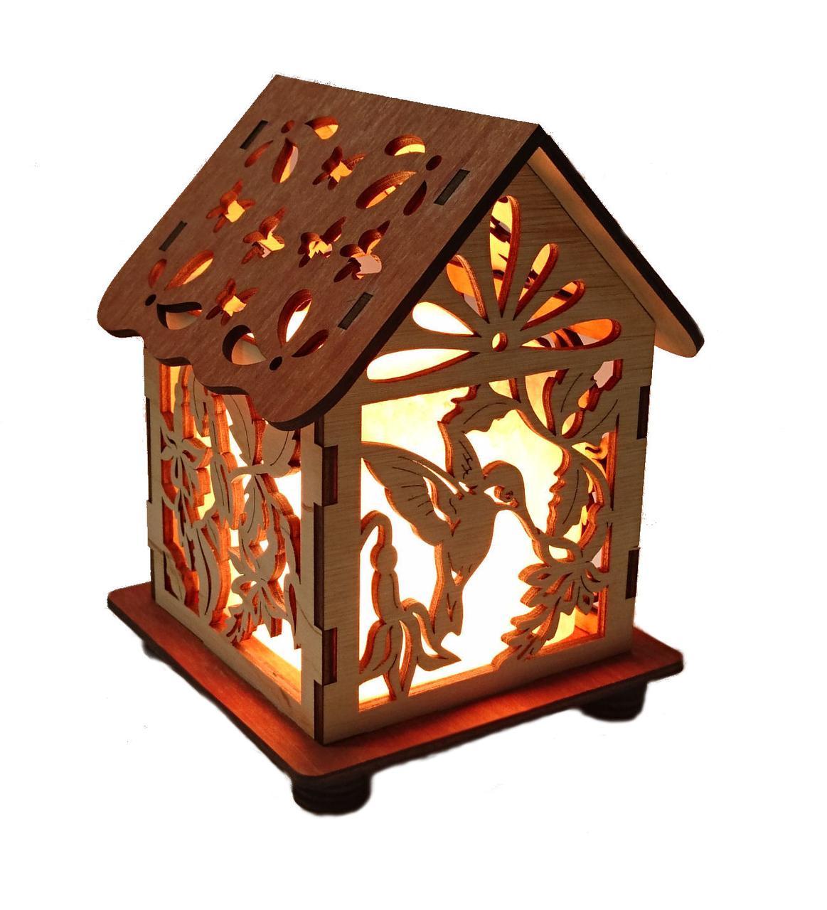 Соляной светильник Дом куб колибри