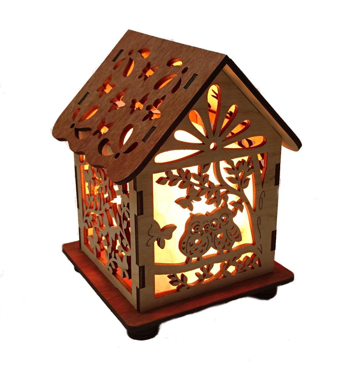 Соляной светильник дом куб совы