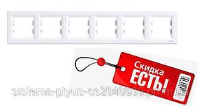 Рамка 6-постовая горизонтальная белая Asfora Schneider Electric
