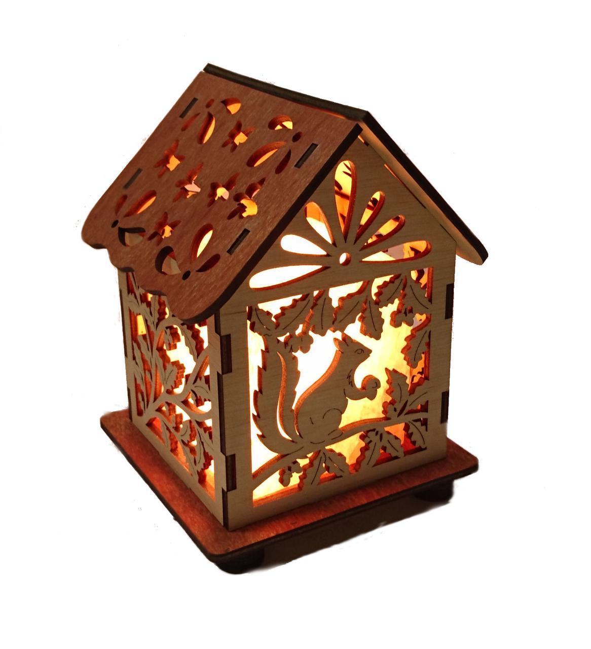 Соляной светильник Дом куб белки