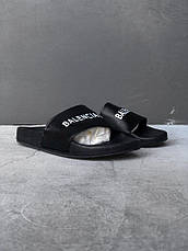 Женские шлепанцы\сланцы Balenciaga Slippers Suede Black (Реплика AAA+) , фото 3