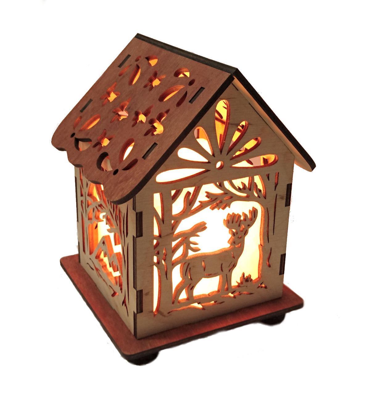 Соляной светильник Дом куб олень