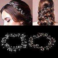 Свадебный венок, веночек в прическу (в волосы), украшения для волос посеребрение 47121-а