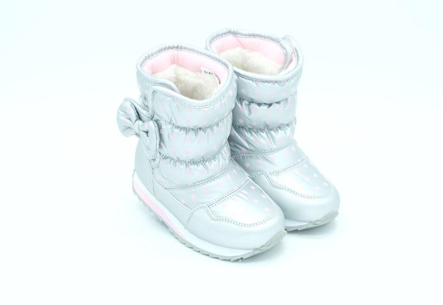 041c286d2 Дутики Совёнок для девочек серебряные с сердечком - Sandalik -  интернет-супермаркет детской обуви в