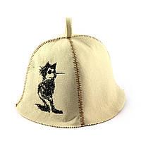 Шапка для сауны (белая), Кот стиляга, искусственный фетр, Saunapro