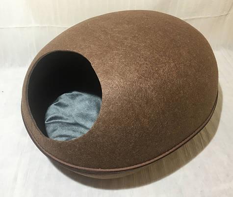 Домик Лапка Яйцо из войлока коричневый 47х38х26 см для собак и кошек