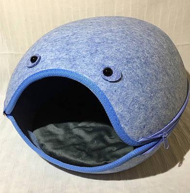 Домик Смайл из войлока голубой 44х37х34 см для собак и кошек