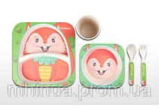 Набор детской посуды из бамбукового волокна Белочка, фото 2