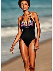 Victoria's Secret Купальник Слитный Embroidered Strappy Plunge One-piece М, Черный