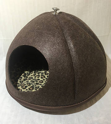 Домик Юрта из войлока коричневый 43х43х33 см для собак и кошек