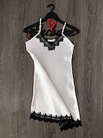 Атласный белый пеньюар, женская одежда для дома