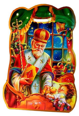 Святкова Упаковка з картону Святий Миколай в роздріб, до 400г, фото 2