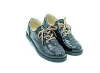 Туфли Constanta черные с шнурками для девочек