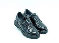 Туфли Constanta для девочек черные с липучкой