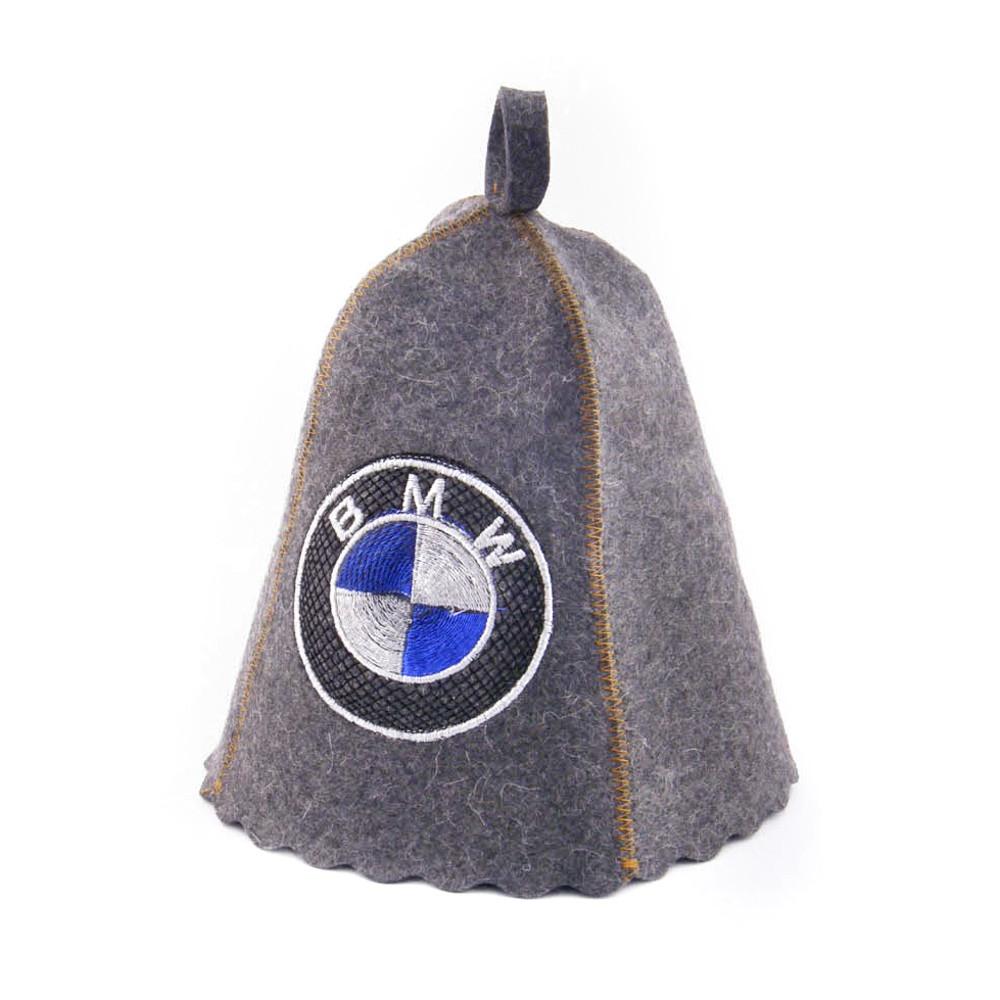 Шапка для сауны с вышивкой 'BMW', серый войлок Sauna Pro