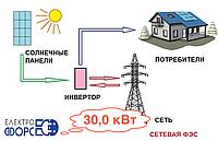 Комплект сетевой солнечной электростанции 30,0 кВт
