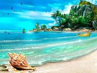 Алмазная мозаика на подрамнике Пляжный отдых 50 х 40 см (арт. TN364)