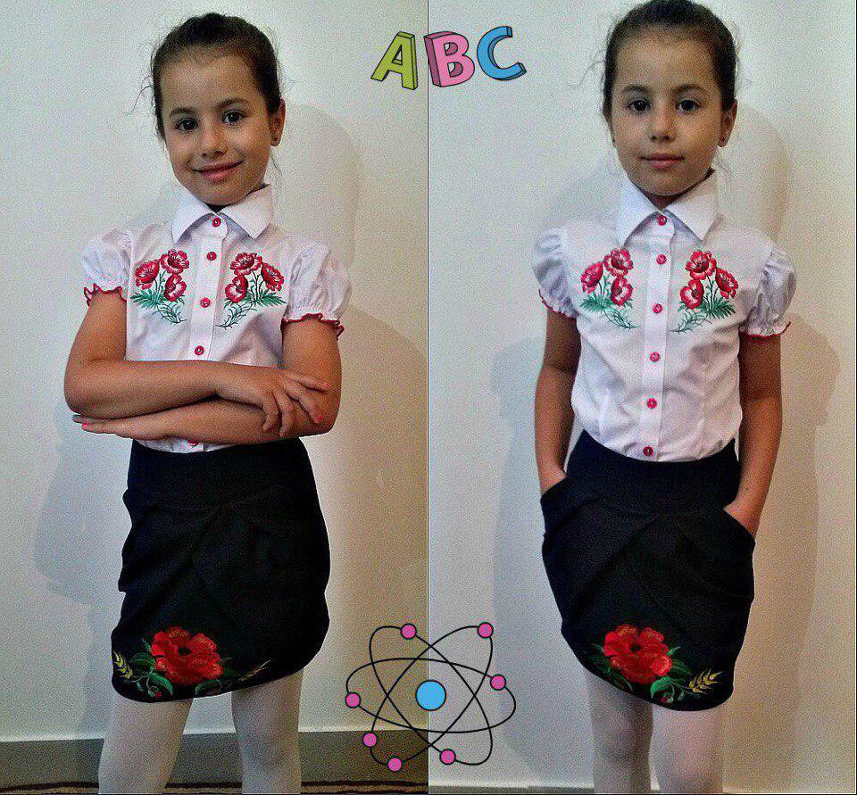 Школьная юбка баска с вышивкой Украинка для девочки школьная форма размер: 122, 128, 134, 140