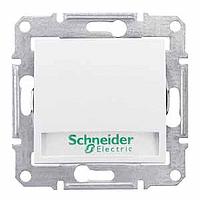 Выключатель  кнопка с индикатором и надписью белый Sedna Schneider Electric