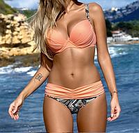 Женский купальник раздельный, верх оранж +плавки орнамент, размер S