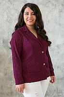 Женский бордовый жакет большого размера ДЖЕННИ ТМ Таtiana 56-60  размеры
