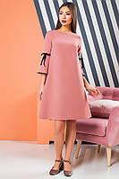 Креповое платье цвета пудра с игривыми бархатными бантами 70872 #O/V