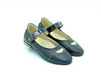 Туфли Constanta для девочек чёрные с застёжкой кожа