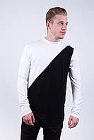 """Мужская футболка на длинный рукав """"Dark Side"""" white black"""